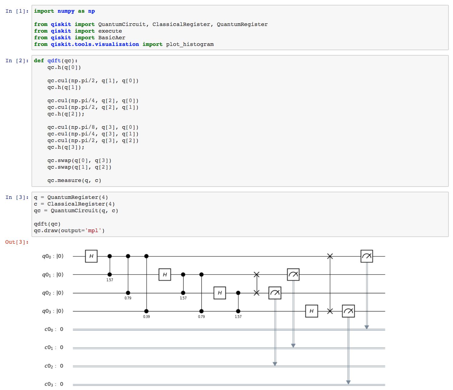 Kod źródłowy w Pythonie, uruchomiony na komputerze kwantowym (narzędzie Jupyter)
